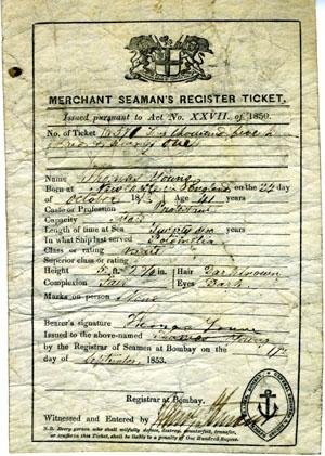 Merchant Seaman's Register Ticket, September 17, 1853 for Thomas Young, mate