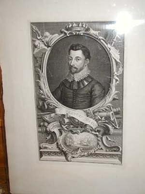 Francis Drake. Large copper engraved portrait ca. 1800: Drake, Francis]. Houbraken, sculp