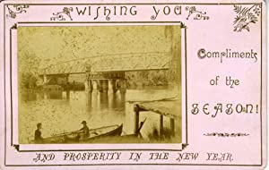 Cabinet Photograph / Christmas card of Latrobe Swing Bridge, Sale, Victoria, Australia