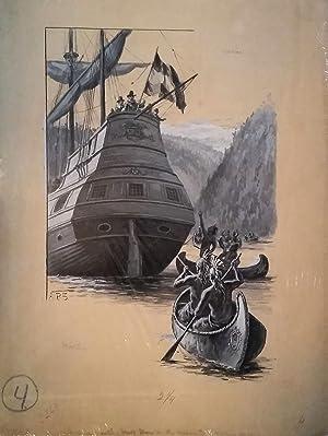 Indian Visiting Half Moon in the Hudson: Hudson River] Shute, Augustus Burnham
