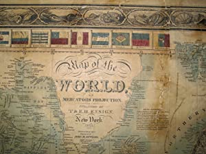 Map of the World on Mercators Projection. New York 1845. Geographical Part engraved by John M. ...