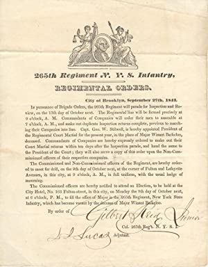 Regimental Orders, 265th Regiment New York State
