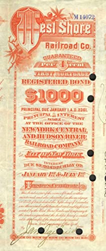 West Shore Railroad Company (Hudson River). First Mortgage Guaranteed Bond, Issued $1,000.00; dat...