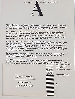 Aspen, The Magazine in A Box, Vol. 1, No. 1: Johnson, Phyllis, ed
