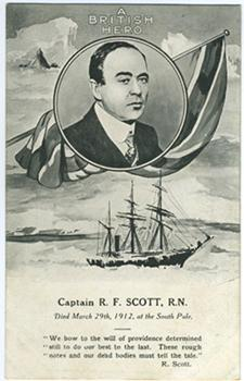 A portrait of Scott, the Union Jack, the Terra Nova and Antarctic scene