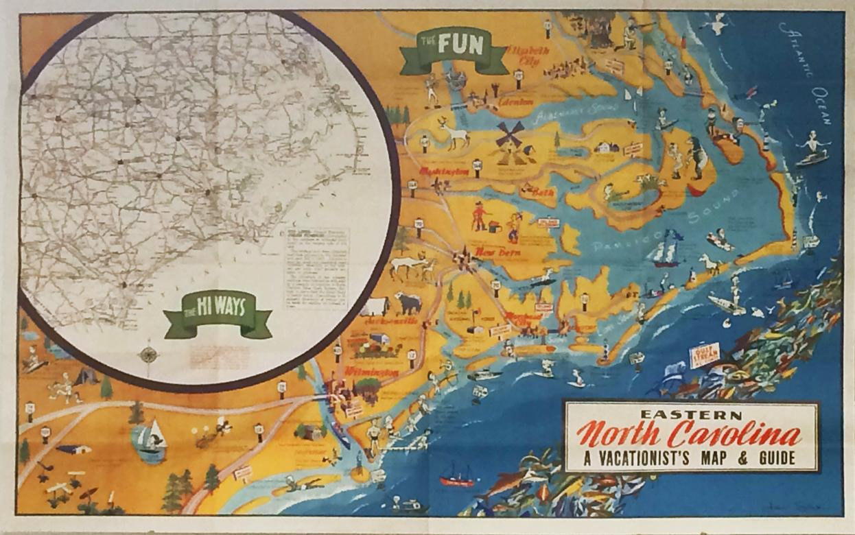 Eastern North Carolina A Vacationists Map And Guide By Sink - Map of eastern north carolina