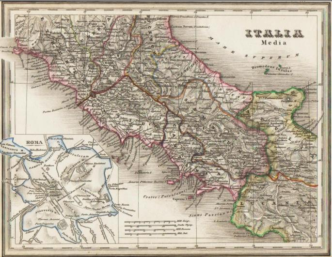 Italia Media Grenzkolorierte Stahlstich Karte Des Antiken