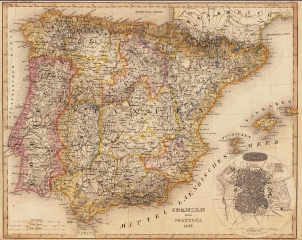 Spanien Und Portugal 1849 U Gestoch Plan Von Madrid Gez V