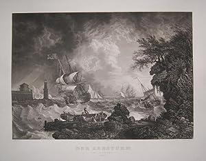 Der Seesturm im Anzuge. Gestoch. v. Metzeroth nach Smith beim Bibl. Institut. 42 x 62 cm. Praemie ...