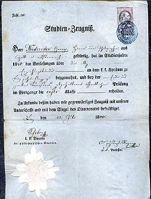 Zeugnis / Zeugnisse. - 11 Gymnasial- bzw. Studien-Zeugnisse für Georg Niedereder, Linz ...