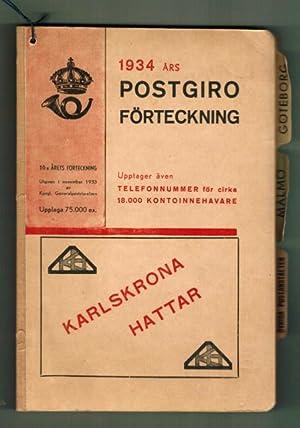 1934 års Postgiro förteckning.