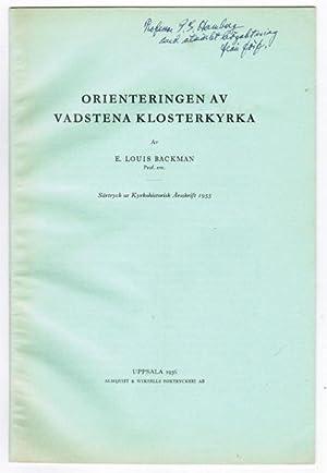 Orienteringen av Vadstena klosterkyrka.: Backman, E. Louis.