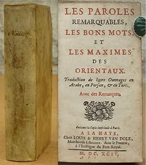 Les Paroles remarquables, les bons Mots, et: Galland, Antoine.