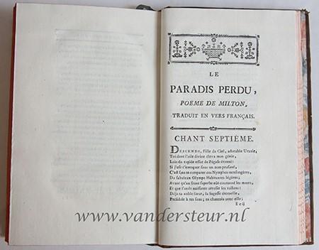 Le paradis perdu, traduit en vers Francois,: Milton