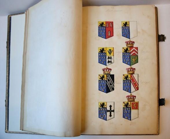 Manuscript armorial with 329 hand coloured drawn: ENGLISH HERLADICA, SHREWSBURY,