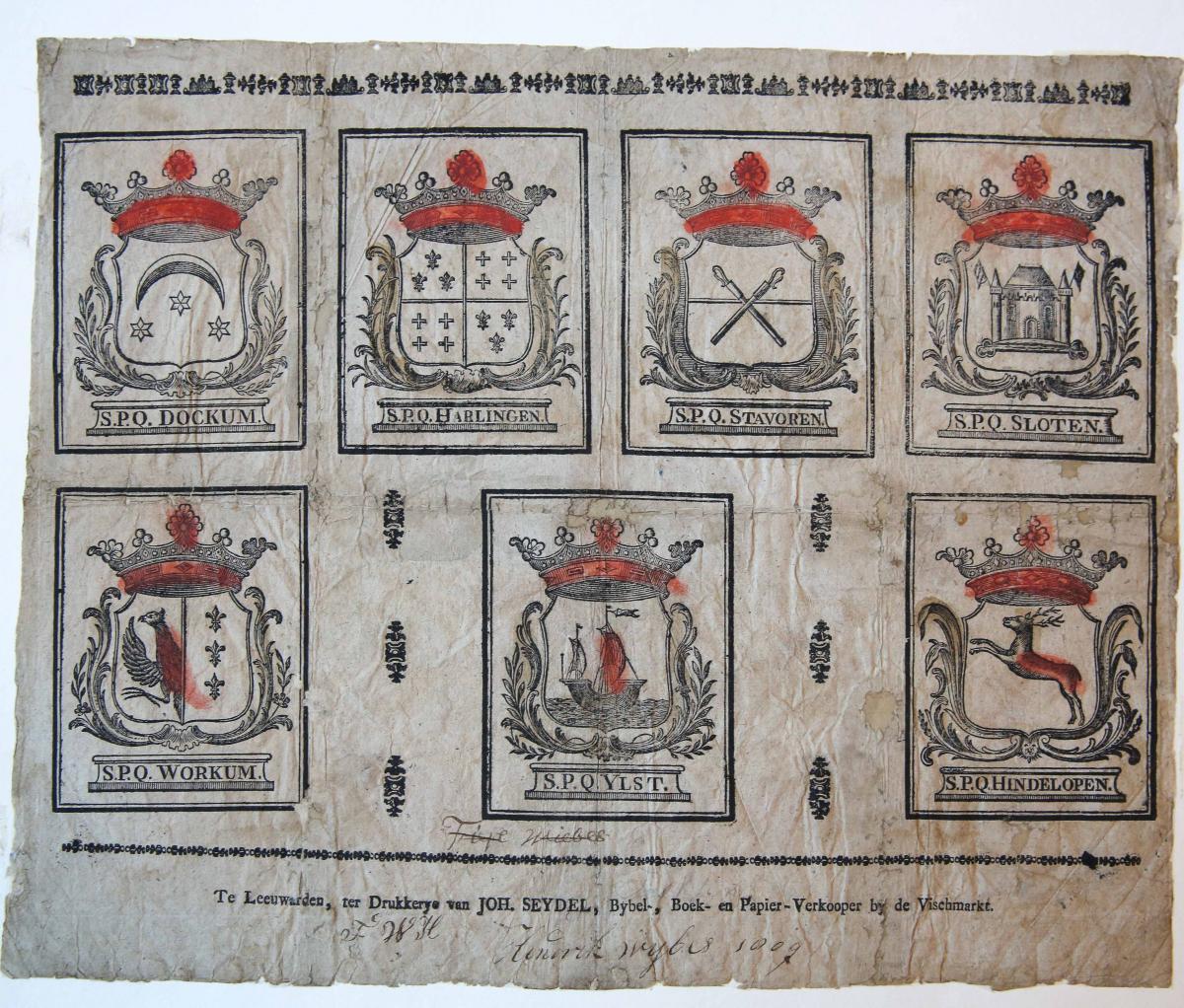 Centsprent: Coats of arms of Frisian cities. Catchpenny print. Leaf with 7 images of coats of arms of Dokkum, Harlingen, Stavoren, Sloten, Workum, IJlst en Hindeloopen. Scribbles at the bottom, p