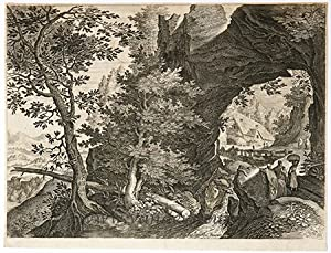 Landscape with a large rock forming an arch (Eight Bohemian land and riverscapes)