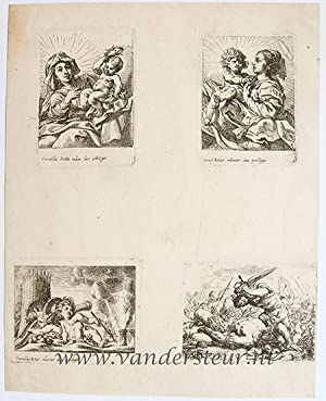 Four plates in a leaf:'Virgin and Child', 'Putti near a cannon' and 'David killing Goliath'