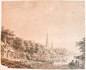 A view of a church and houses along a river (Nicolaaskerk, Koudekerk aan de Rijn), ca. 1780