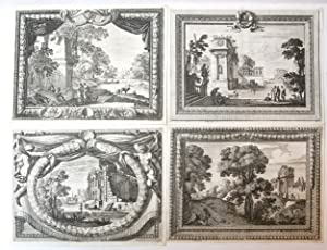 Eight landscapes with decorative borders (set of eight)