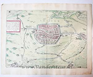Leyda, Batavorum Lugdunum, vulgo Leyden. Antique colored map of Leiden.