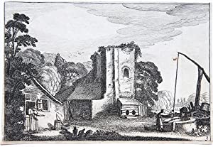 Farmyard with square ruined tower, used as a barn [Set: Amenissimae aliquot regiunculae. ] on the...