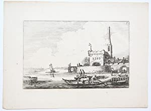 Two cows on a ferry near a bastion [Set title: Amenissimae aliquot regiunculae. (4th volume)]/Twe...