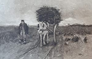 Lithography of Man and horse with cart.