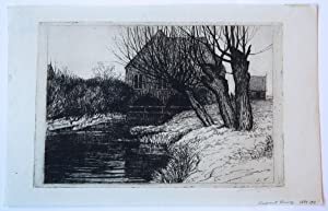 Landscape with farm house by a canal