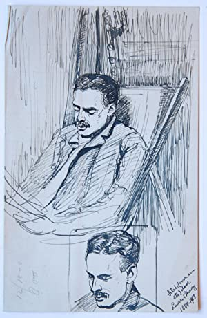 Portrait of a man with a moustache (a sketch and three impressions).