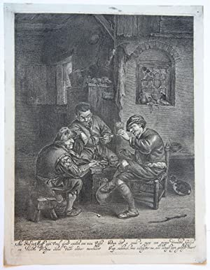 Three men in an inn (drie mannen in een kroeg).