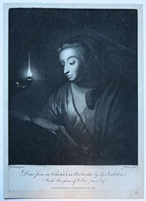 Young woman reading by an oil lamp (jonge vrouw leest bij olielamp).