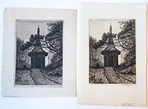Eighteenth century garden shed. (two impressions) (twee impressies van 18e eeuws tuinhuis).