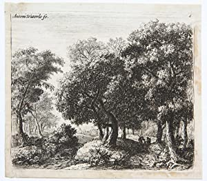 Village church on the bank of a river [set: Landscapes, eleven plates]. (Dorpskerk aan de oever v...