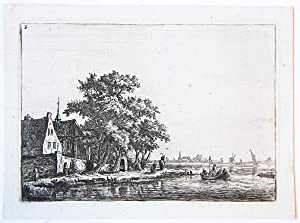 Churchyard near a waterside [set: twelve lettered plates]. (Kerktuin nabij het water).