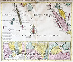 Grande Mer des Indes ou Ocean Oriental Indien. Map of Ceylon, Malaysia, Maledives, Sumatra, from:...