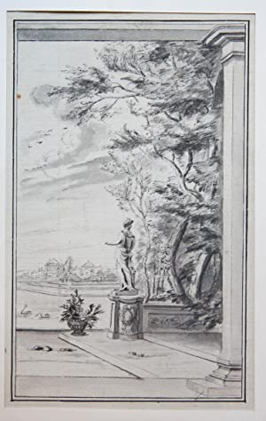 View on a terrace with a statue and trees (Tekening van terras met standbeeld en bomen).