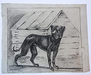 Dog in front of his kennel (tekening van hond in kennel).