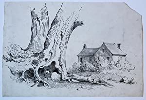 Small view on houses and trees (tekening van huizen en bomen).