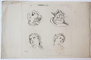 Drawing/tekening: Study of four character faces [three female and one male, N.4] (Studie van vier...