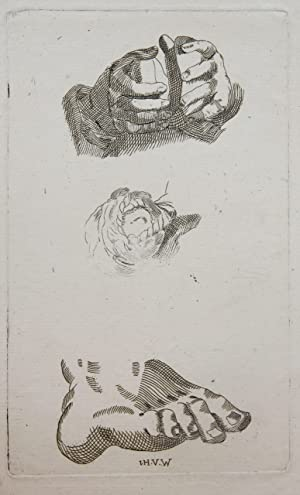 Etching/ets: Studies of hands and a foot (studie van handen en een voet).