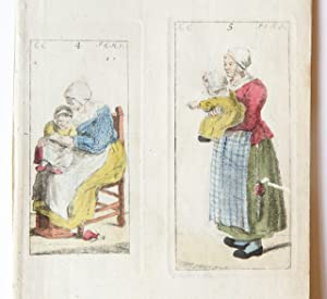 Handgekleurde ets/Handcolored etching: Mother and child [plates 4, 5 from