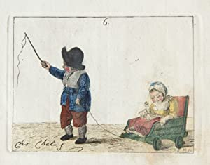 Handgekleurde ets/Handcolored etching: Children playing with a cart [plate 6 from