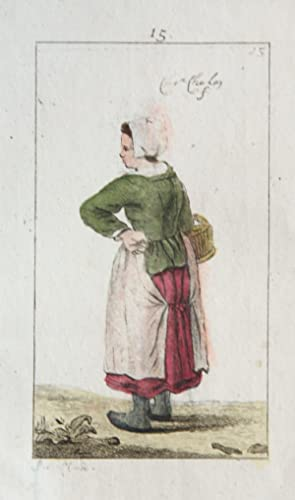 Handgekleurde ets/Handcolored etching: Young woman standing [plate 15 from