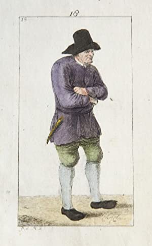 Handgekleurde ets/Handcolored etching: Standing man with hat [plate 18 from