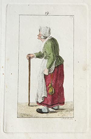 Handgekleurde ets/Handcolored etching: Standing old woman in profile holding on to a stick [plate...