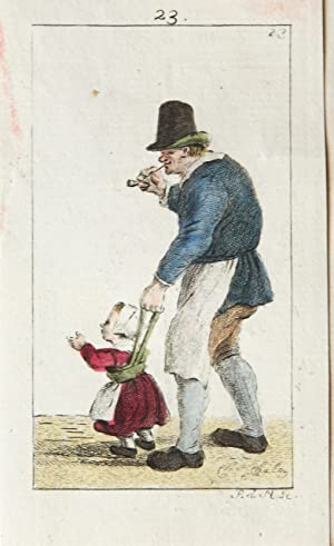 Handgekleurde ets/Handcolored etching: Standing man with hat, smoking a pipe, helping a child to ...