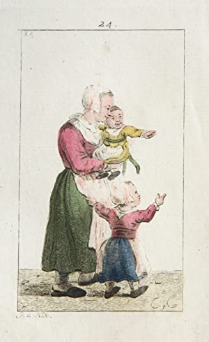 Handgekleurde ets/Handcolored etching: Standing woman holding a child in her arms and one on the ...