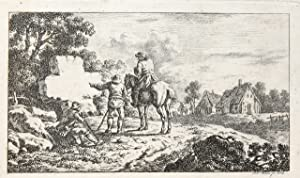 Etcing/ets: Landscape with men pointing at a stone (title page?) (Landschap met mannen).
