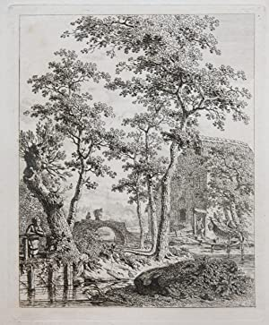 Ets/Etching: Farm by a stream of water (Boerderij bij stromend water).